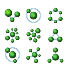 Abstract Green Molecules Icon Set on White vector image vector image
