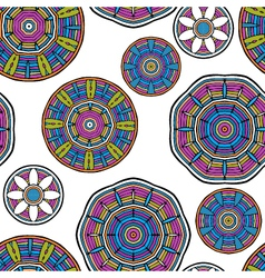 Acid color ethnic tribal mandala seamless pattern vector image