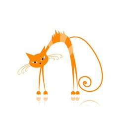 Angry orange striped cat for your design vector image vector image