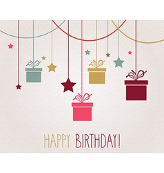 Birthday card with presents design vector image vector image