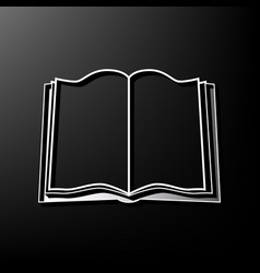 Book sign gray 3d printed icon on black vector