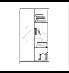 Bookcase home furniture lineart design interior vector