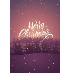 Calligraphic retro Christmas card design vector image