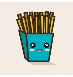 cartoon box fries french design vector image vector image