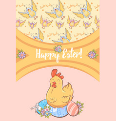 Cartoon happy easter festive card vector