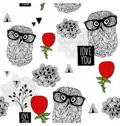 Clever owls seamless pattern on white background vector