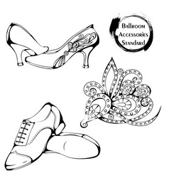 Dance line ballroom standard accessories vector