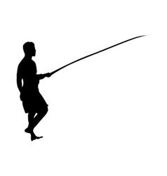 Fisherman silhouette black vector image