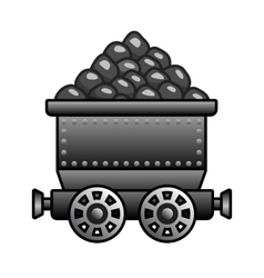 Iron mine cart with coil vector