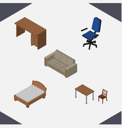 Isometric design set of couch chair bedstead and vector