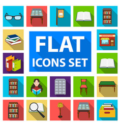 Library and bookstore flat icons in set collection vector