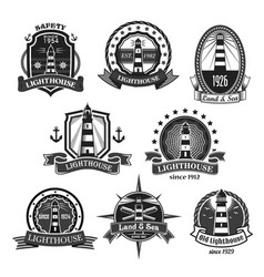 lighthouse nautcal icons set vector image vector image