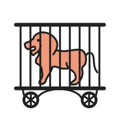 Lion in cage vector