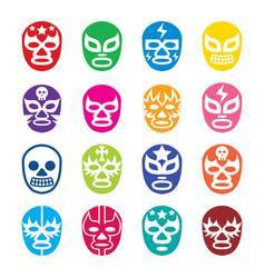 Lucha libre luchador icons mexican wrestling vector