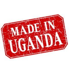 Made in uganda red square grunge stamp vector
