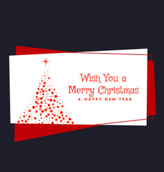 Merry christmas festival greeting with tree made vector