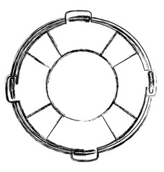 Monochrome sketch of flotation hoop with rope vector