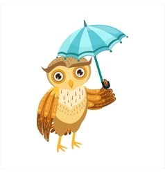 Owl With Umbrella Cute Cartoon Character Emoji vector image vector image