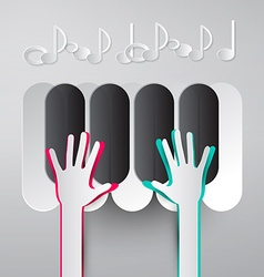 Paper Hands Playing Piano Keyboards with Notes vector image