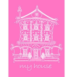 Pretty lace doll house on pink background vector
