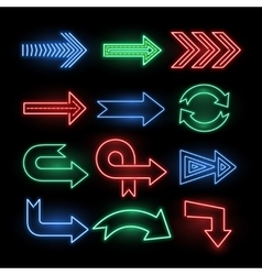 Retro neon direction arrow signs icons vector image