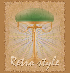 retro style poster old table lamp vector image vector image