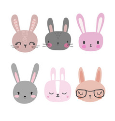 Set of cute rabbits funny doodle animals little vector