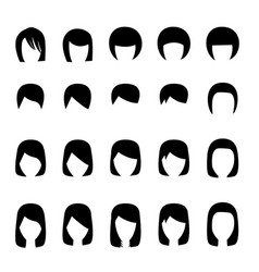 set of hairstyle silhouette vector image