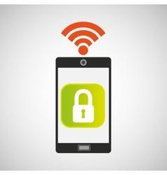 smartphone padlock internet wifi icon vector image vector image