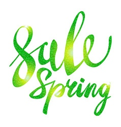 Spring sale green inscription paint glitz glamor vector