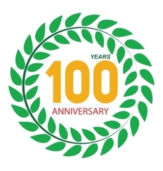 Template Logo 100 Anniversary in Laurel Wreath vector image