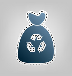 Trash bag icon blue icon with outline for vector