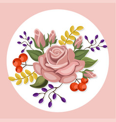 vintage colorful floral crown summer roses vector image