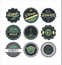 Vintage labels blue set 1 vector
