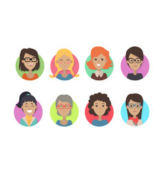 Woman face emotive icons in flat style set vector
