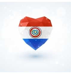Flag of Paraguay in shape diamond glass heart vector image