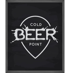 Beer point lettering poster pub emblem on vector