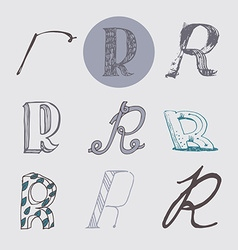 Original letters R set isolated on light gray vector image