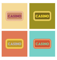 Assembly flat icons poker casino sign vector