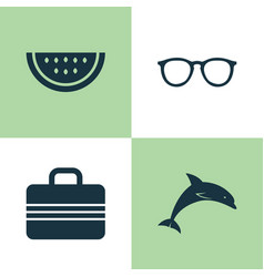 Season icons set collection of baggage mammal vector