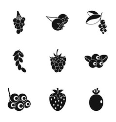 berries icon set simple style vector image