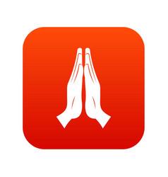 Prayer icon digital red vector