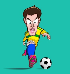Yellow shirt control football cartoon vector
