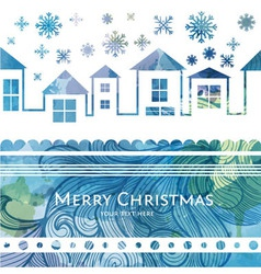 City winter watercolor christmas background vector