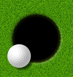 Golf ball on lip of cup vector