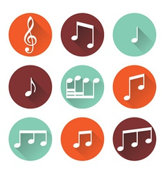 Flat music icons vector