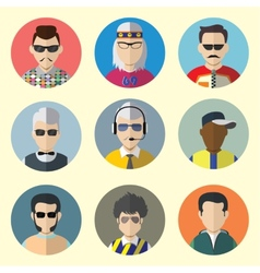 Set of circle icons with man sunglasses vector