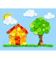 House and tree in color circles vector