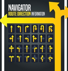 Driving navigator route direction arrow vector