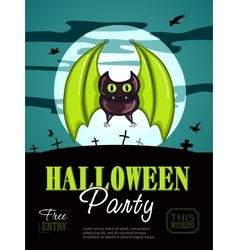 Halloween party design template with bat vector